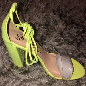 "Fashion Nova ""Lose It All Heel"" in Neon Yellow"